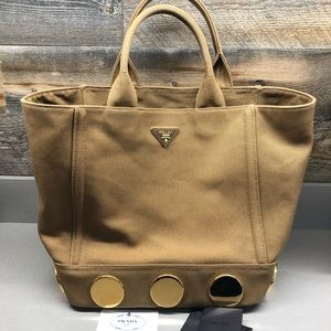 PRADA tan canvas tote bag